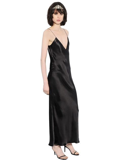 Silk Dress Black 1 laurent silk satin slip maxi dress in black lyst