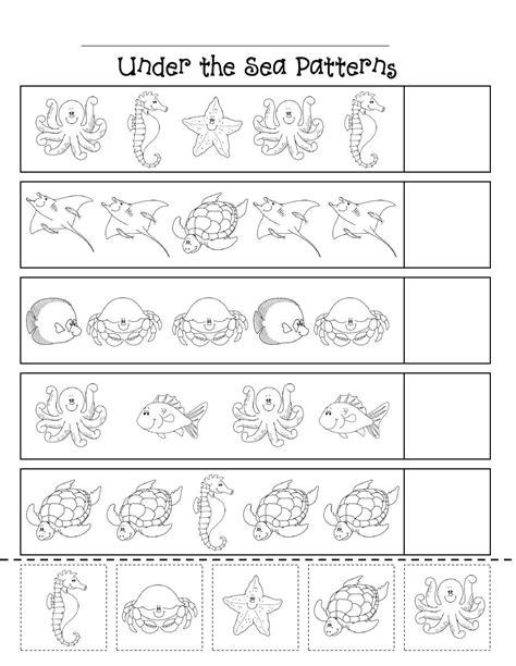the sea worksheets for kindergarten patterns scribd theme