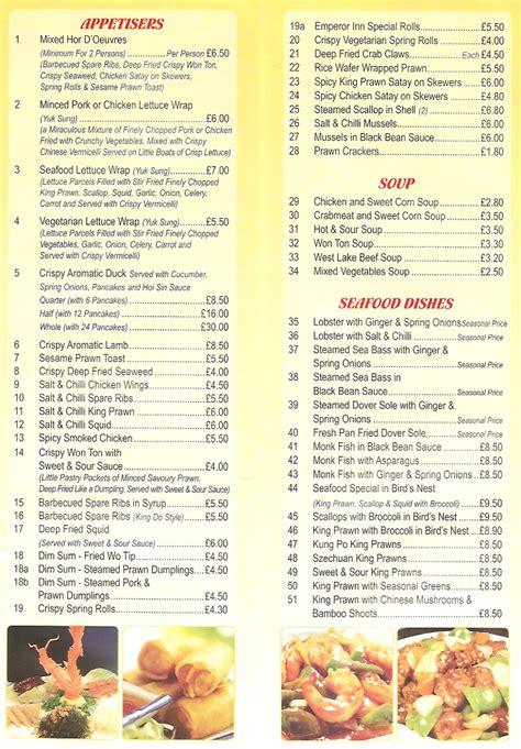 Emperor S Kitchen Menu by Emperor Inn Restaurant On Derby