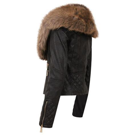 black leather brown faux fur collar jacket parisia fashion