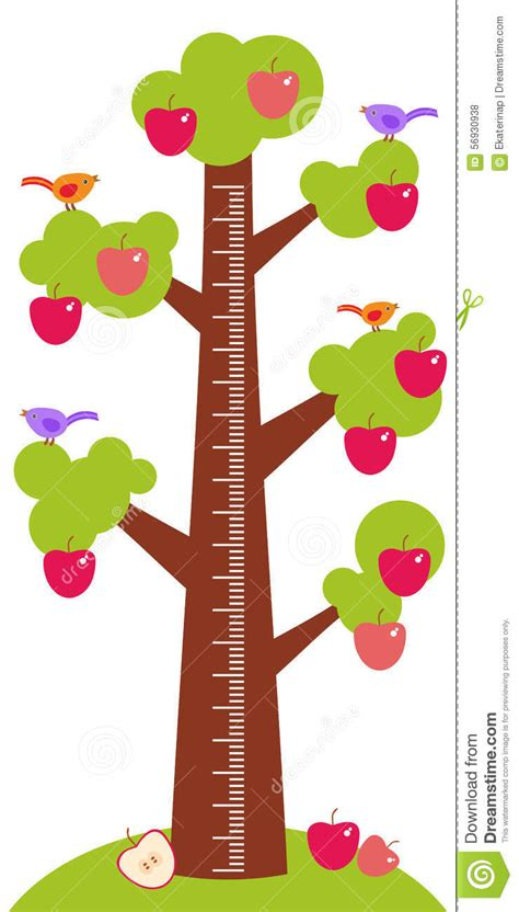 Wall Sticker Tree big tree with green leaves birds and red apples on white