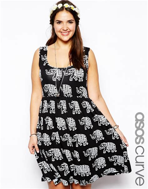 Elephant Dress asos curve button front dress in elephant print in white black lyst