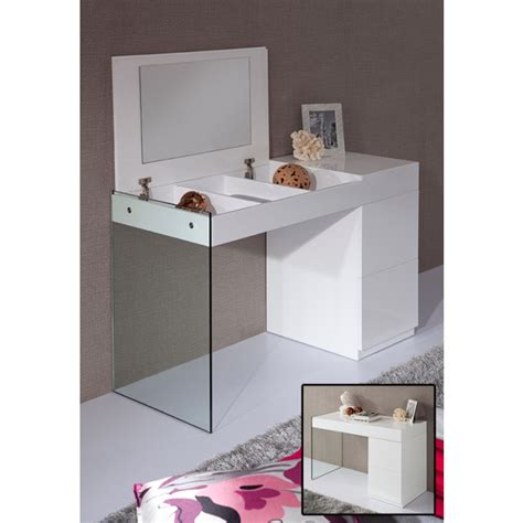 glass bedroom vanity volare modern white floating glass vanity w mirror