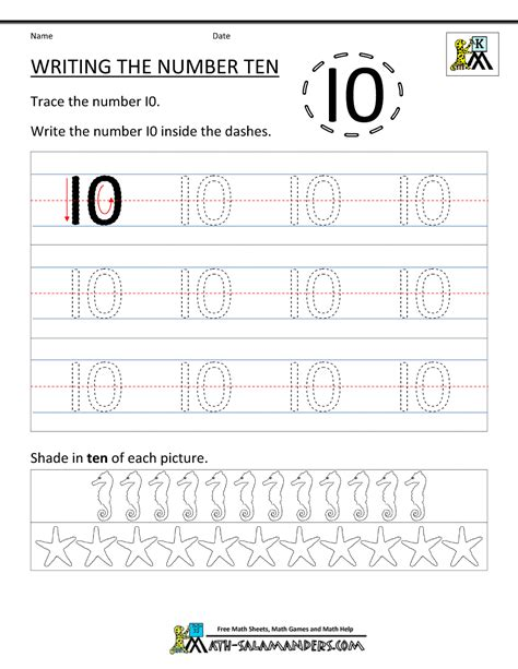 To Worksheets by Kindergarten Printable Worksheets Writing Numbers To 10