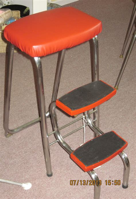 Vintage Step Stools by Retro Chrome Step Stool With Vinyl Upholstery