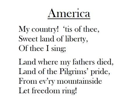 printable lyrics my country tis of thee elementary music methods real life edition veterans day
