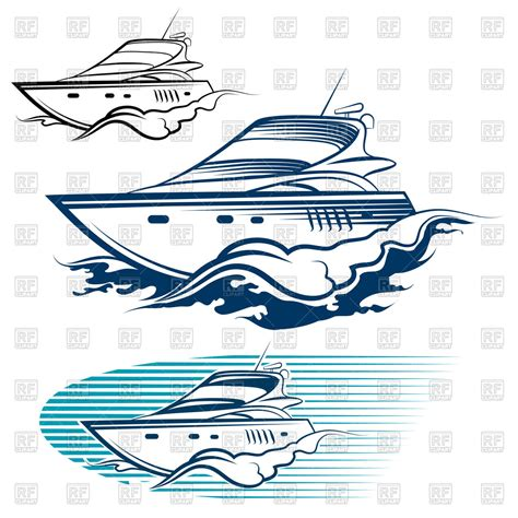 boat motor clipart yacht emblem motor speedboat and wave royalty free