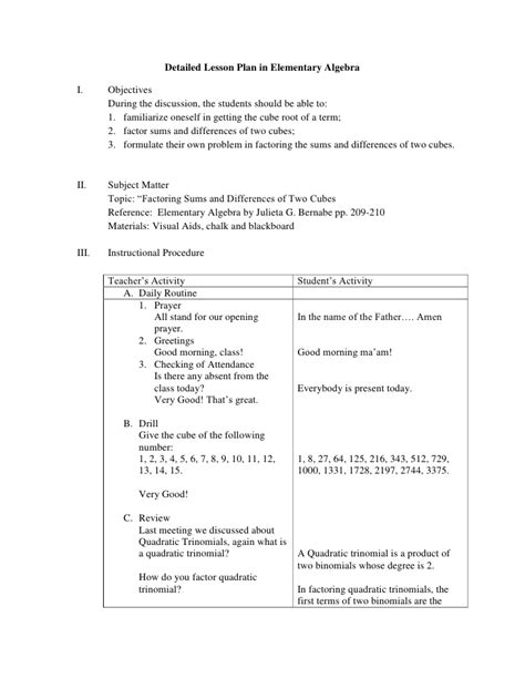 42 daily lesson plan template elementary sample elementary lesson