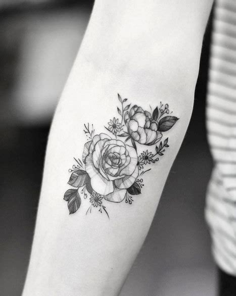 black and white rose tattoos tumblr on forearm