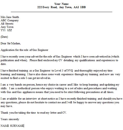 application letter for and gas company gas engineer cover letter exle icover org uk