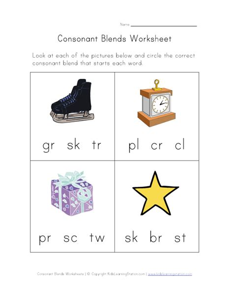 Consonant Blends Worksheets by Consonant Blends Worksheet One Of Four Learning
