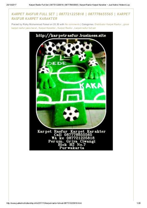 Karpet Karakter Rasfur karpet rasfur set 087721225818 087778655565 karpet