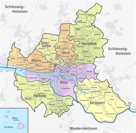 Hamburg Karte by Bezirke In Hamburg