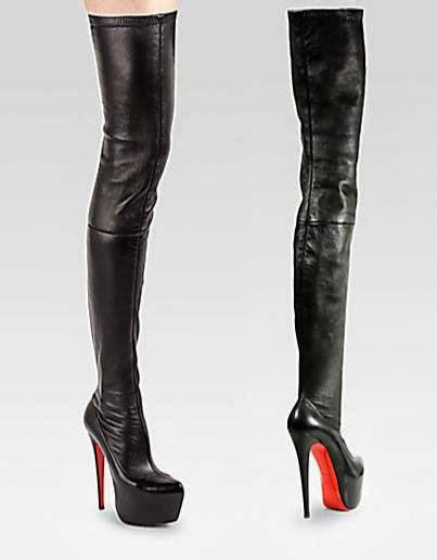 christian louboutin thigh high leather boots