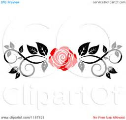 clipart of a red rose and black and white foliage border page rule royalty free vector
