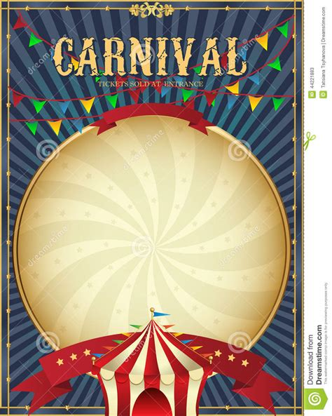 vintage carnival circus poster template vector