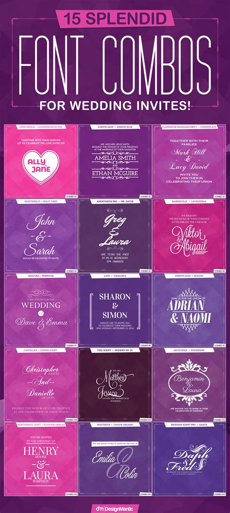 Wedding Font Combos by Font Combos For Wedding Invites Designmantic The Design