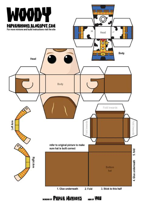 printable paper toys woody buzz de paper minions paper toys template and toy