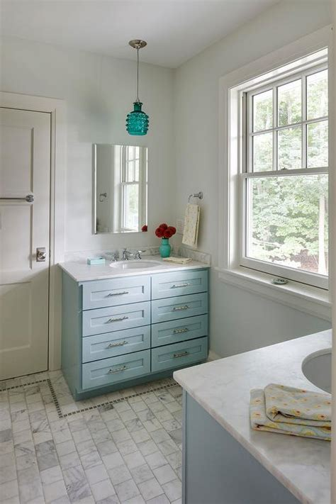 turquoise vanity  gold knobs transitional bathroom