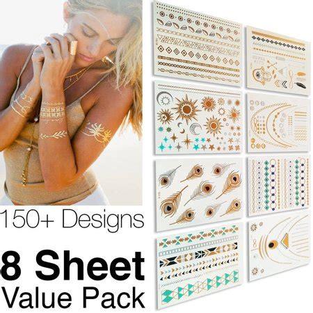 fake tattoos walmart 8 sheets temporary disposable metallic gold silver