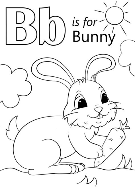 coloring pages for letter b letter b is for bunny coloring page education