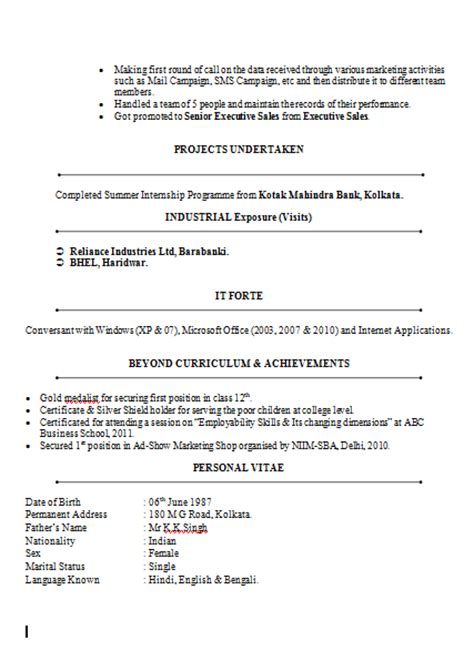 Resume Format For Banking Sector For Freshers 10000 Cv And Resume Sles With Free Mba Marketing Finance Resume Sle Doc