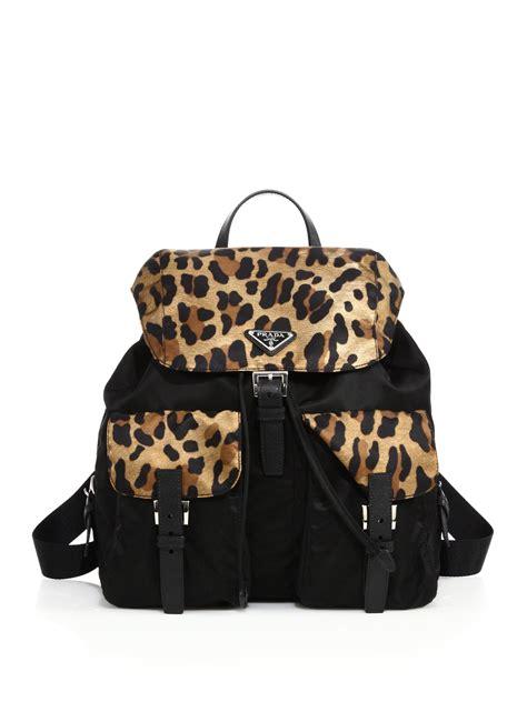Leopard Print Backpack prada leopard print backpack in black lyst