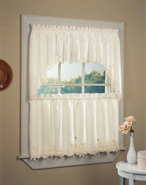 Curtain Valances For Kitchens Battenburg Lace 5 Kitchen Curtain Tier Set Curtainworks
