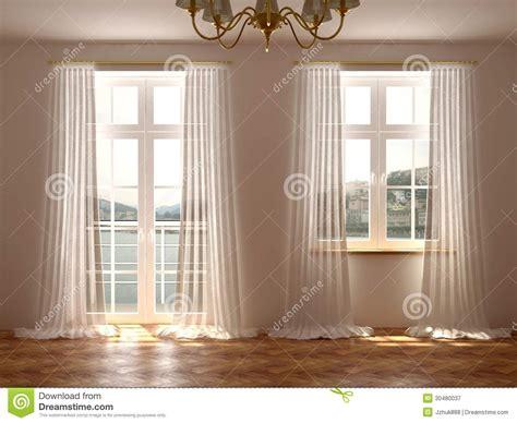 le tende piã stanza con le finestre e la porta balcone immagine