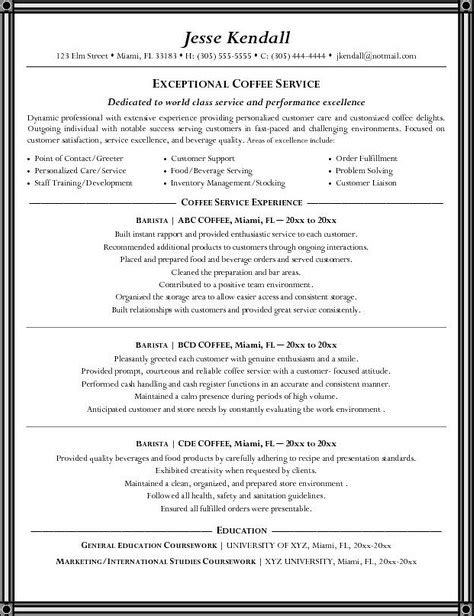 Barista Resume Job Description   Resume Cover Letter Template