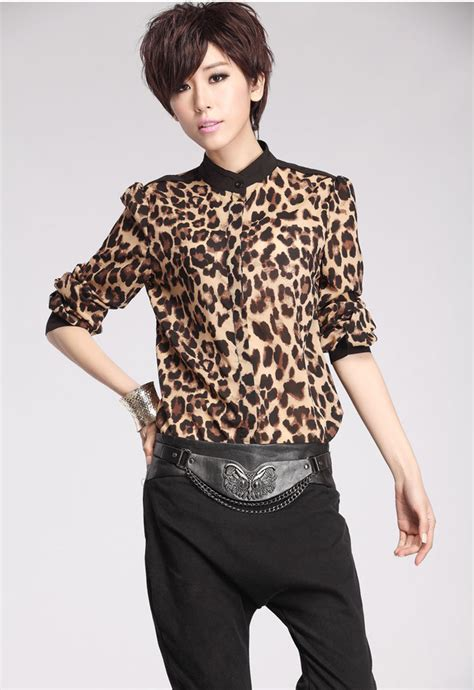 Jy60287 Sleeves Blouse Atasan Top Leopard Collar vety chic luxury top quality leopard color block sleeve stand collar blouses