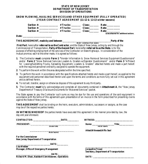 snow plowing contract templates google docs  word apple pages  premium templates