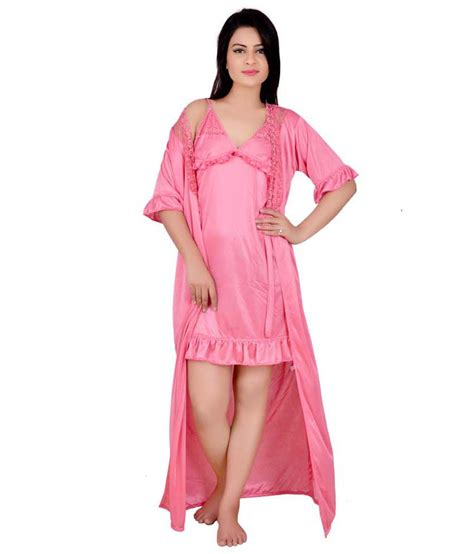 nighty dress with price kanika pink satin nighty night gown available at
