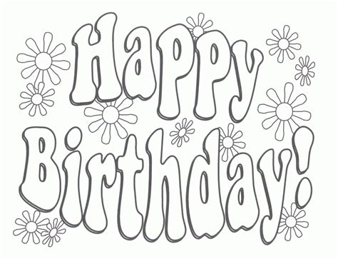 Printable Coloring Pages That Say Happy Birthday | free printable happy birthday coloring pages coloring home