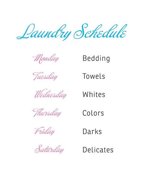 printable laundry schedule 25 best ideas about laundry schedule on pinterest