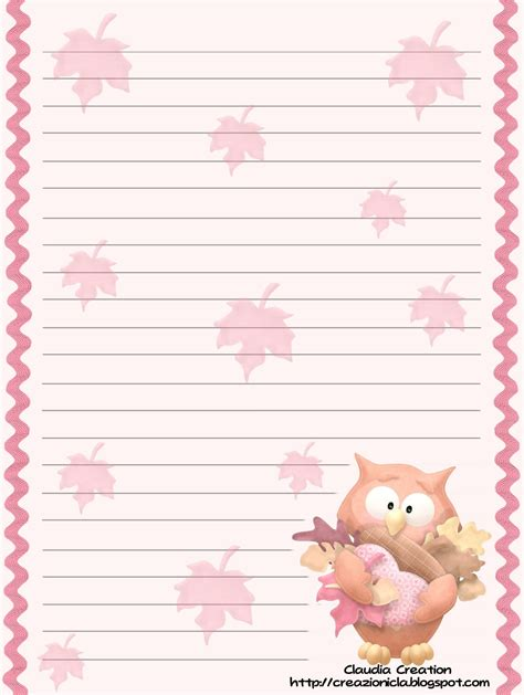 carta da lettere il mio angolo creativo carta da lettere gufetti