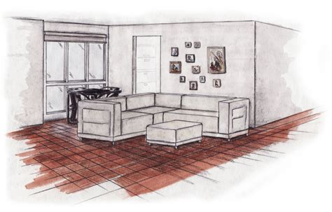 Living Room Perspective Drawing Test Room By Axel Bastin At Coroflot