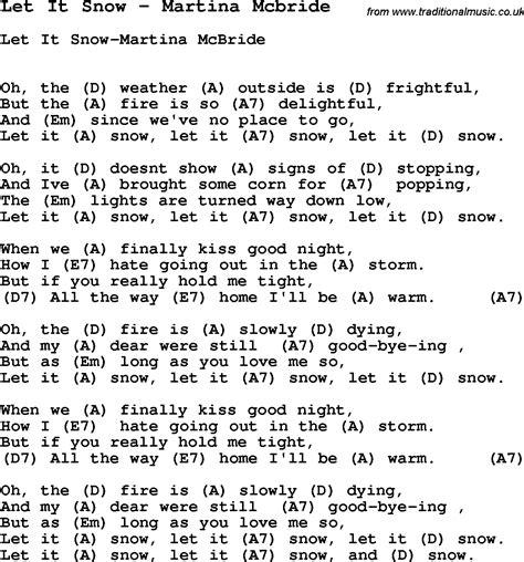 my lyrics and chords by martina mcbride song let it snow by martina mcbride with lyrics for vocal