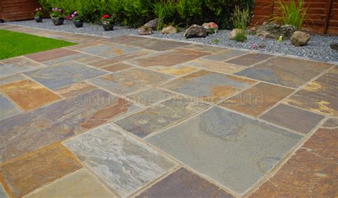 rustic copper slate patio paving slabs multicolour gold