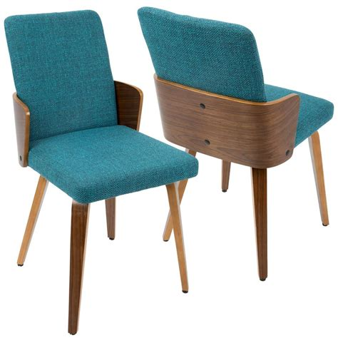 teal dining chairs lumisource carmella mid century modern walnut and teal