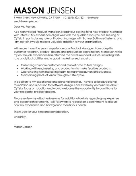 managment cover letter best product manager cover letter exles livecareer