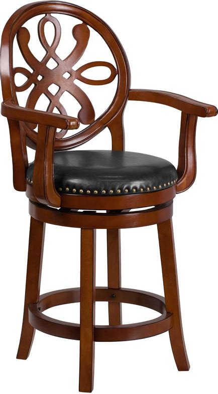 Maple Bar Stools With Leather Seats by 26 High Wood Counter Height Stool With Arms And