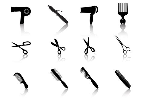 Hair Dryer Vector Free hair styling vector silhouetes free vector