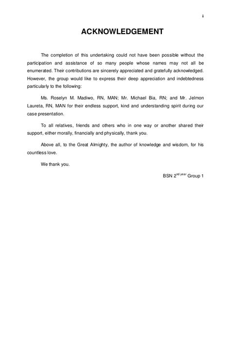 Acknowledgement Letter Sle For Research Paper Acknowledgement