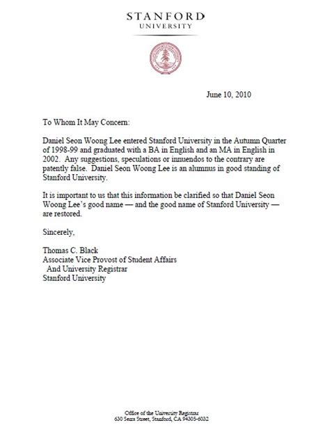 Certificate Release Letter Stanford Release Official Verification To Tablo