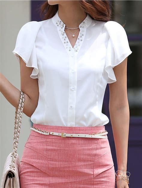womens beaded tops slim fit beaded collar ruffles ol career