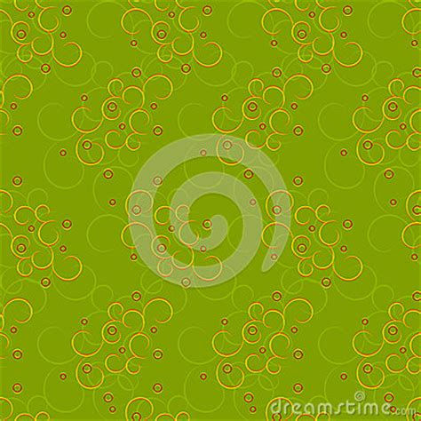yellow wavy pattern seamless of curly yellow pattern with red circles stock