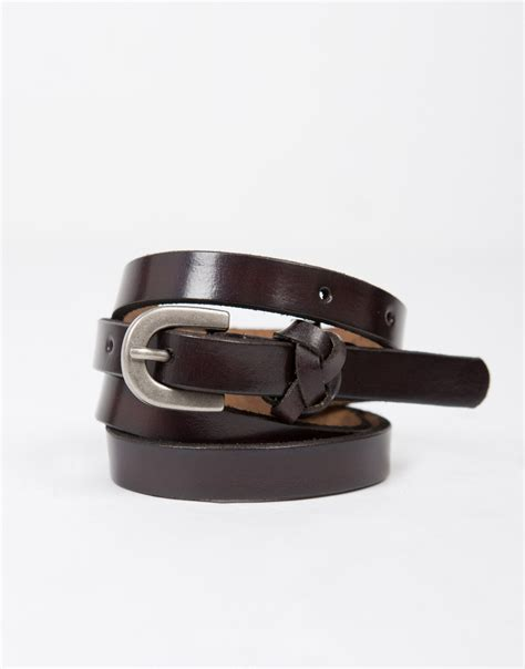 thin leather belt brown leather belt faux leather