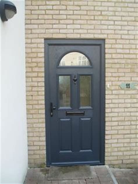 Organz Square Grey cottage half glazed composite front door in chartwell green composite entrance doors