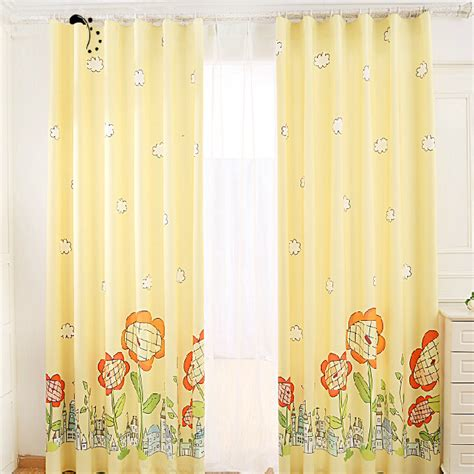 Quality Yellow Sunflower Blackout Nursery Curtains Yellow And White Curtains For Nursery